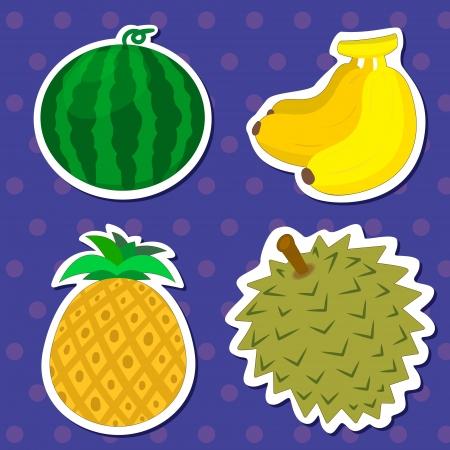 수박, 바나나, 파인애플, 두리안과 함께 네 귀여운 과일 일러스트