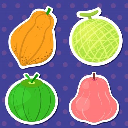 four cute fruits with papaya, cantaloupe, coconut,and wax apple