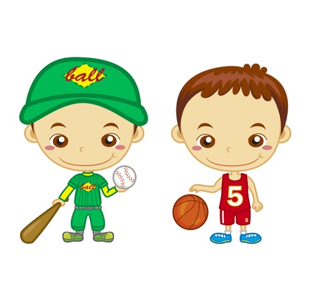clip art draw: A baseball player and a basketball player isolated on white background  Kids and Sports series