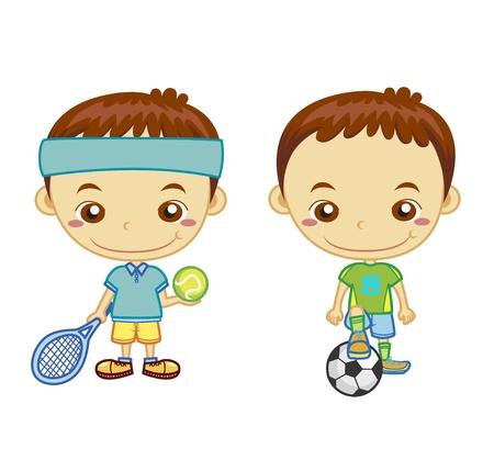 sicurezza sul lavoro: Un giocatore di calcio e un giocatore di tennis per bambini isolato su sfondo bianco e serie Sports