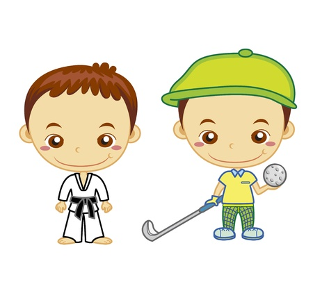 clip art draw: A judo athlete and a golfer isolated on white background  Kids and Sports series