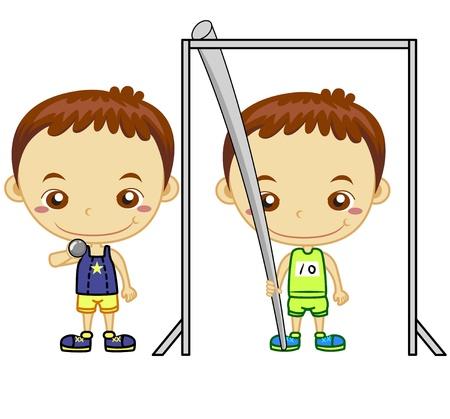Ein Stabhochspringer und Kugelstoßer auf weißem Hintergrund Kids und Sport Serie Standard-Bild - 14721787