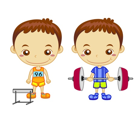 schoolchild: A hurdler runner and a weight lifter isolated on white background  Kids and Sports series   Illustration
