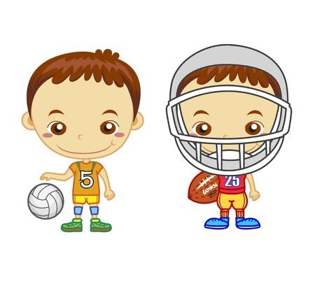 미국의 축구 선수와 흰색 배경에 어린이와 스포츠 시리즈에 고립 된 배구 선수