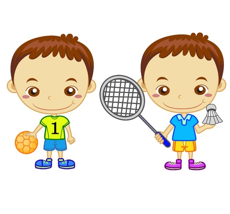 schoolkid: A handball player and a badminton player isolated on white background  Kids and Sports series