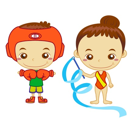 A boxer and a gymnast isolated on white background  Kids and Sports series   Vector