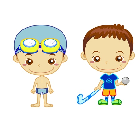 baby swim: A swimmer and a hockey player isolated on white background  Kids and Sports series   Illustration