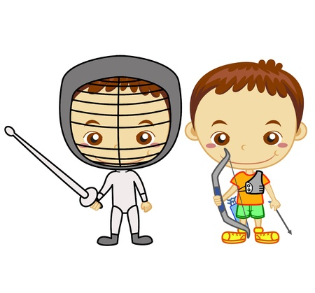 the archer: A archer and a fencing player isolated on white background  Kids and Sports series