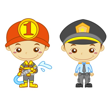 A policeman and a firefighter isolated on white background  Kids and Jobs series  you can find other jobs in my portfolio  Eps file available  Vector