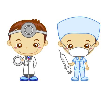 Um médico e uma enfermeira isolada no fundo branco série Miúdos e trabalhos