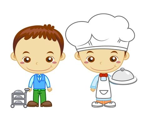 Een kok en een restaurant kelner geïsoleerd op witte achtergrond Kinderen en werkgelegenheid serie
