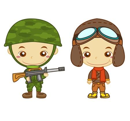 귀여움: 육군 병사와 에어 맨 흰색 배경에 어린이와 작업 시리즈에 고립 일러스트