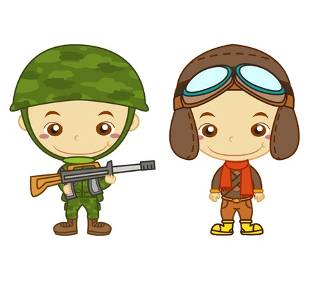 A army soldier and a airman isolated on white background  Kids and Jobs series   Vector