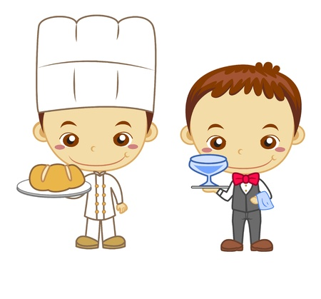 panadero: Un camarero y panadero aislados en los niños el fondo blanco y el Empleo de la serie Vectores