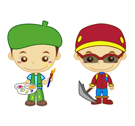 A painter and a mountaineer isolated on white background  Kids and Jobs series   Vector