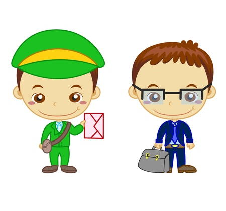 A postman and a salesman isolated on white background  Kids and Jobs series   Vector