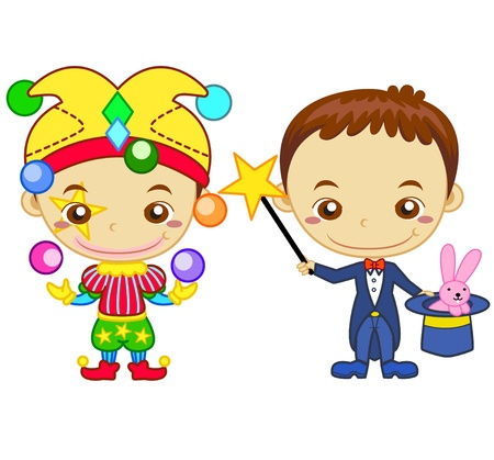 schoolchild: A clown and a magician isolated on white background  Kids and Jobs series