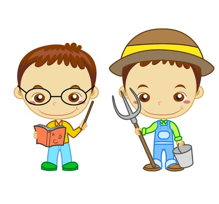 A teacher and a farmer isolated on white background  Kids and Jobs series   Vector