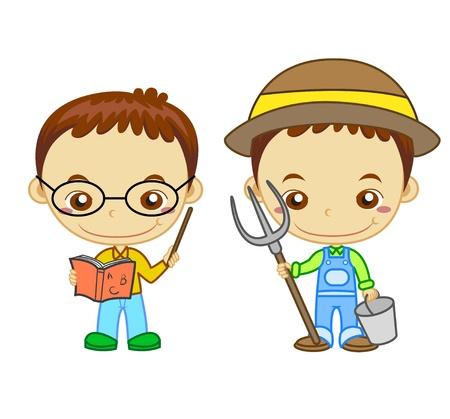 köylü: Bir öğretmen ve beyaz arka plan Çocuk ve Ä°ÅŸ dizi izole bir çiftçi