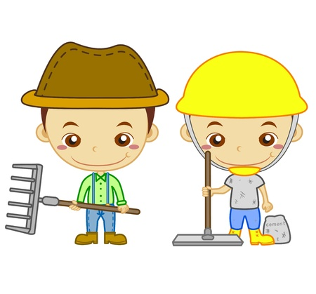 仕事: Cowman と白い背景の子供たちと仕事シリーズ免震建物の労働者