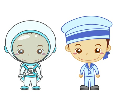An astronaut and a naval soldier isolated on white background  Kids and Jobs series