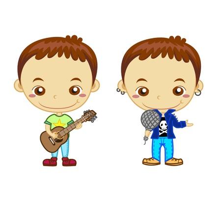 guitarristas: Una celebridad y un guitarrista aislado en los ni�os el fondo blanco y el Empleo de la serie Vectores