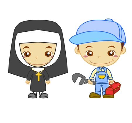 fun at work: A nun and a  plumber isolated on white background  Kids and Jobs series   Illustration