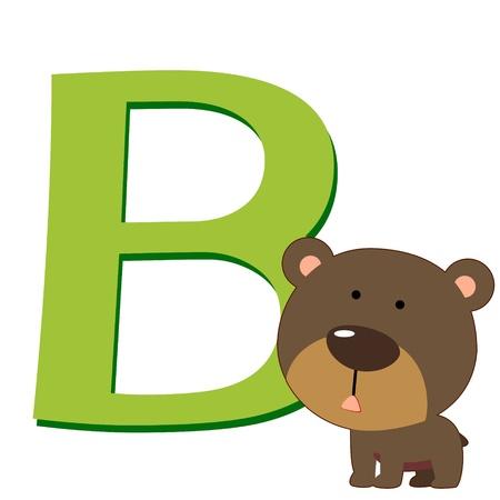 illustration of isolated animal alphabet B with bear on white