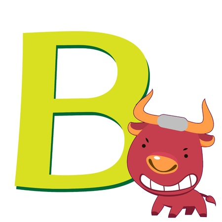 illustration of isolated animal alphabet B with bull on white Vector