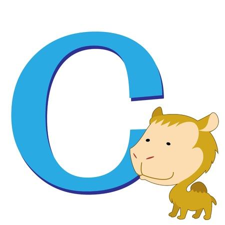 illustration of isolated animal alphabet C with camel on white Illustration