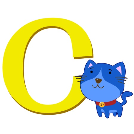 illustration of isolated animal alphabet C with cat on white