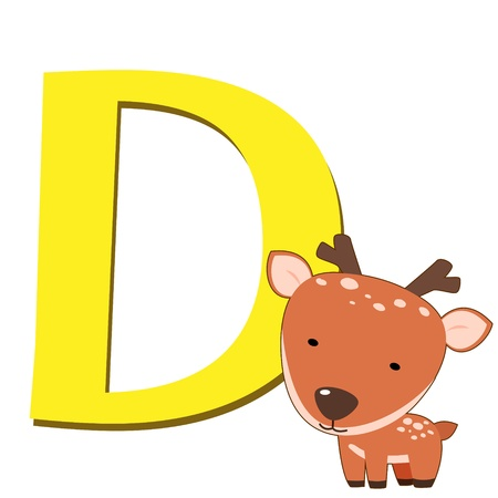 illustration of isolated animal alphabet D with deer on white Vector