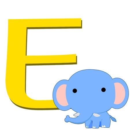 illustration of isolated animal alphabet E with elephant on white Stock Vector - 14721856