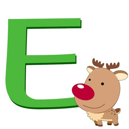 illustration of isolated animal alphabet E with elk on white Vector
