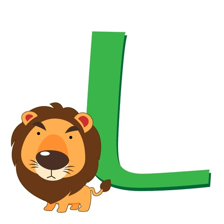 illustration of isolated animal alphabet L with lion on white