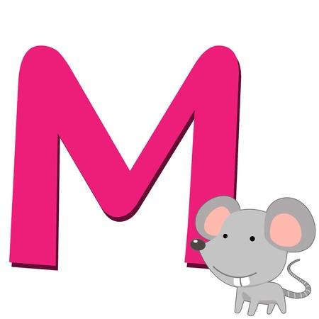 흰색에 마우스로 고립 된 동물 알파벳 M의 그림