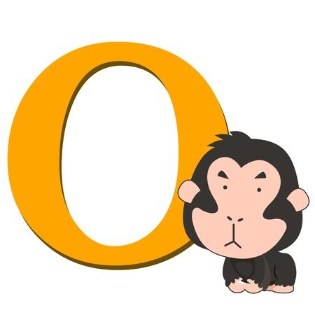 illustration of isolated animal alphabet O with orangutan on white Vector
