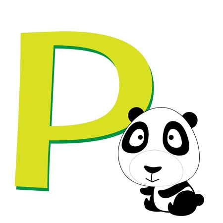 illustration of isolated animal alphabet P with panda on white Vector