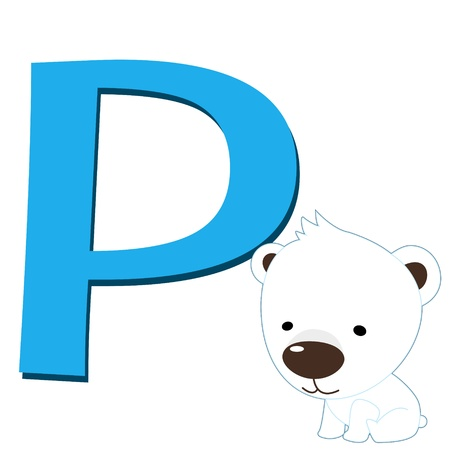 illustration of isolated animal alphabet P with polar bear on white Vector