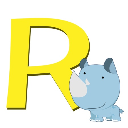 illustration of isolated animal alphabet R with rhino on white Vector
