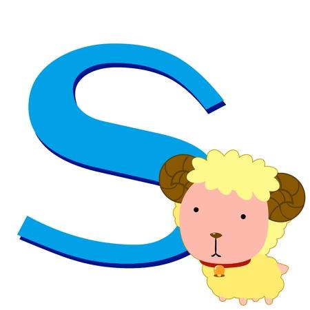 alphabet s: ilustraci�n de S aislado alfabeto animal con las ovejas en blanco Vectores