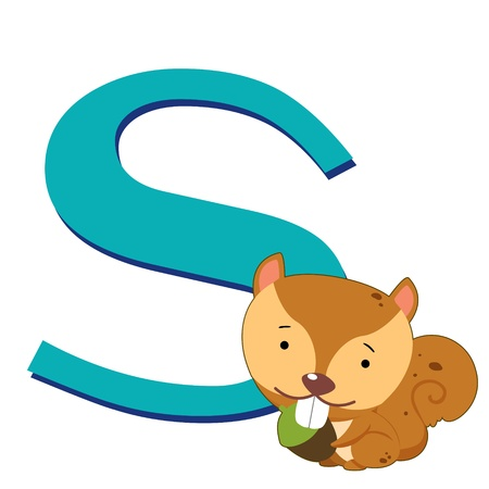 illustration of isolated animal alphabet S with squirrel on white Vector