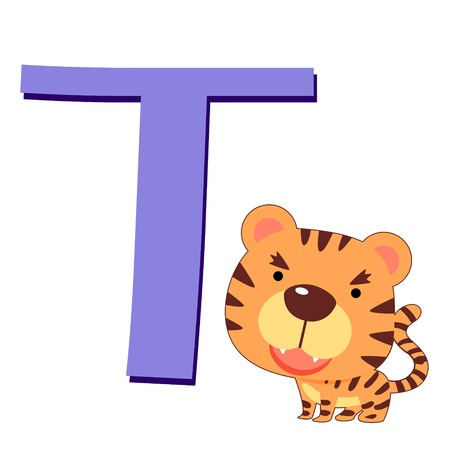 illustration of isolated animal alphabet T with tiger on white Vector