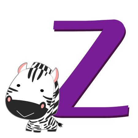 illustration of isolated animal alphabet Z with zebra on white