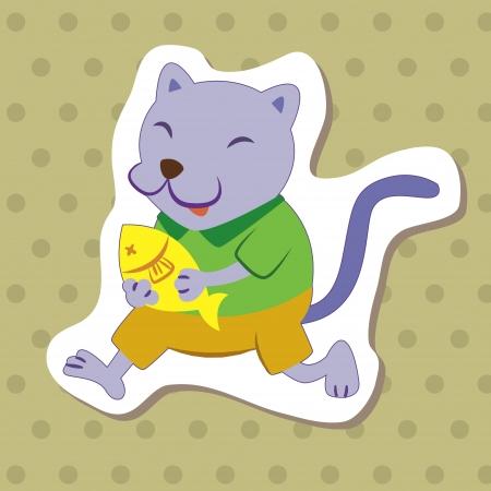 cute cartoon animal with cat  Stock Vector - 14810852