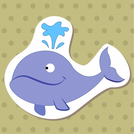 cute cartoon animal with whale  Vector