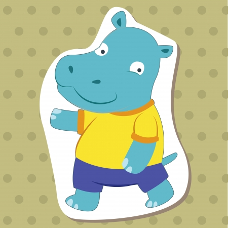 cute cartoon animal with hippo  Vector