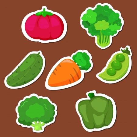 seven cute vegetables collection Vector