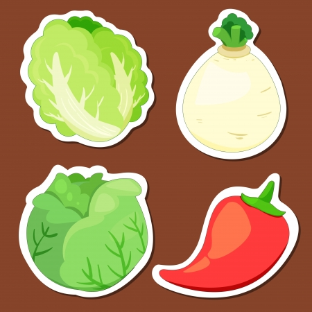 four cute vegetables collection