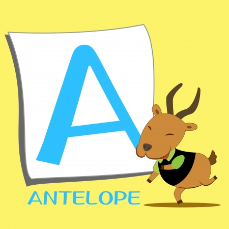 illustration of isolated animal alphabet A with antelope Vector
